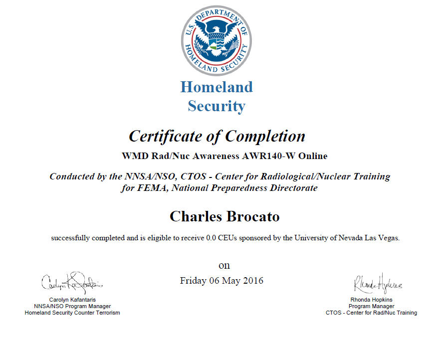 Homeland Security WMD Radiation & Nuclear Awareness!