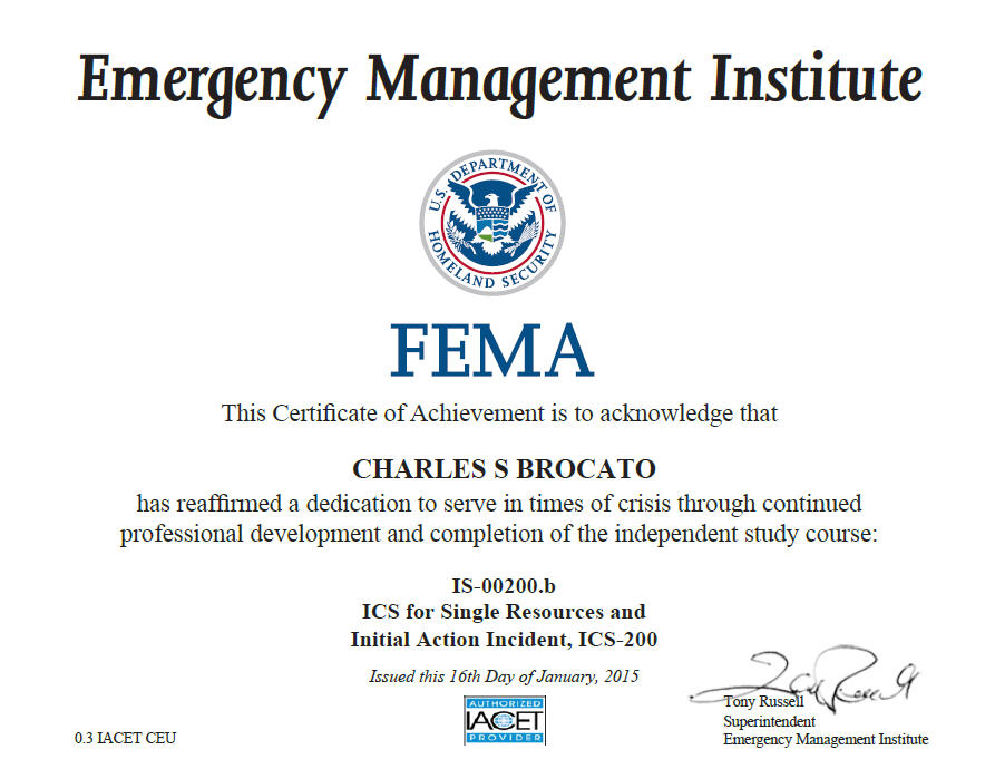 Another Certificate Dr. B Just Acquired, Incident Command System for Single Resources & Initial Action Incident!