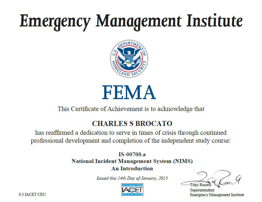National Incident Management System (NIMS): An Introduction