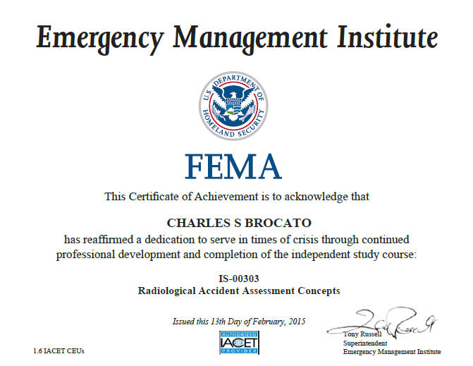 Incident Command System Certificate—FEMA